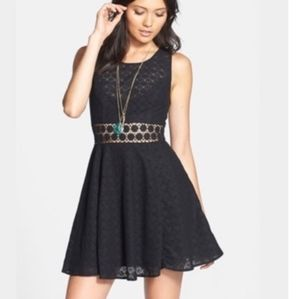 Free People Daisy Cage Skater Black dress,4